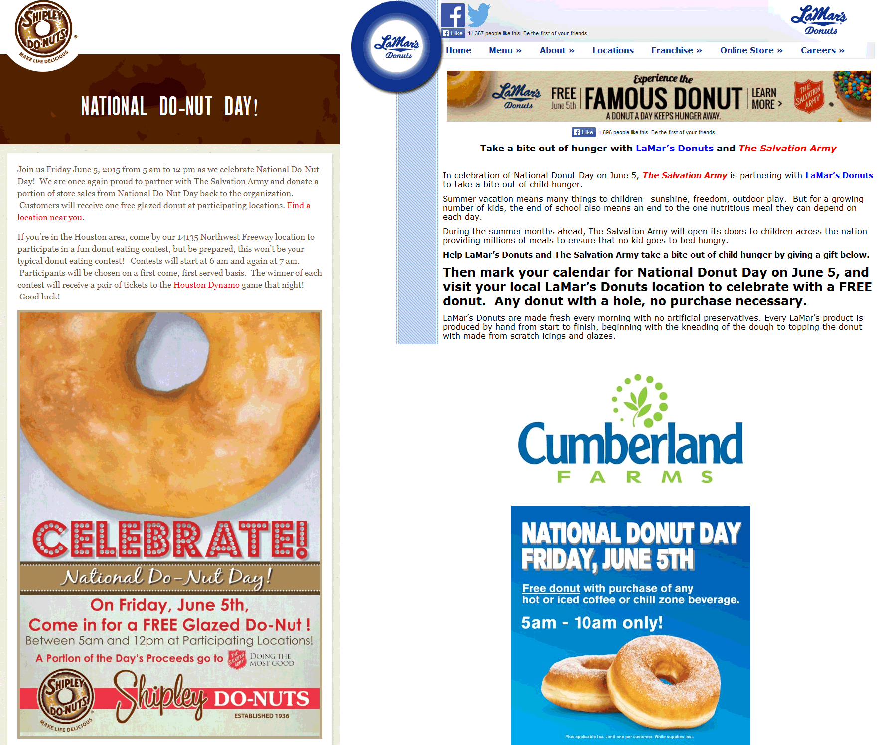 Shipley Do-Nuts Coupon June 2017 More free donuts today at Shipley Do-Nuts, LaMars Donuts & Cumberland Farms