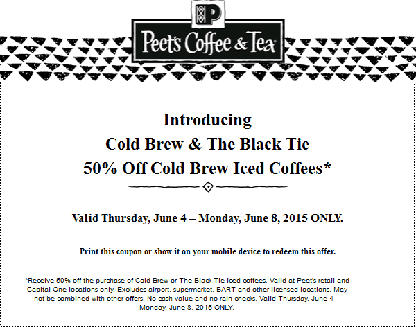 Peets Coffee & Tea Coupon July 2019 Iced coffees are 50% off at Peets Coffee & Tea