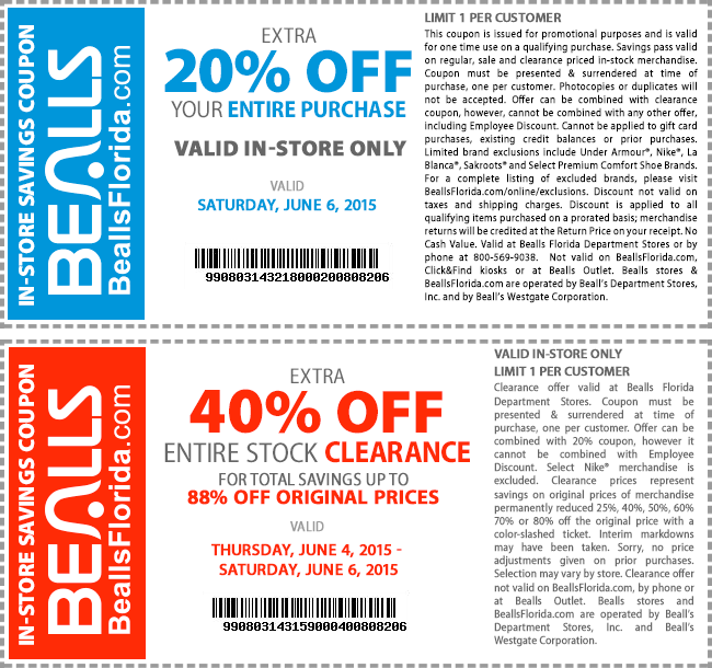 Bealls Coupon May 2017 20% off everything + extra 40% off clearance today at Bealls, or 25% online no code needed