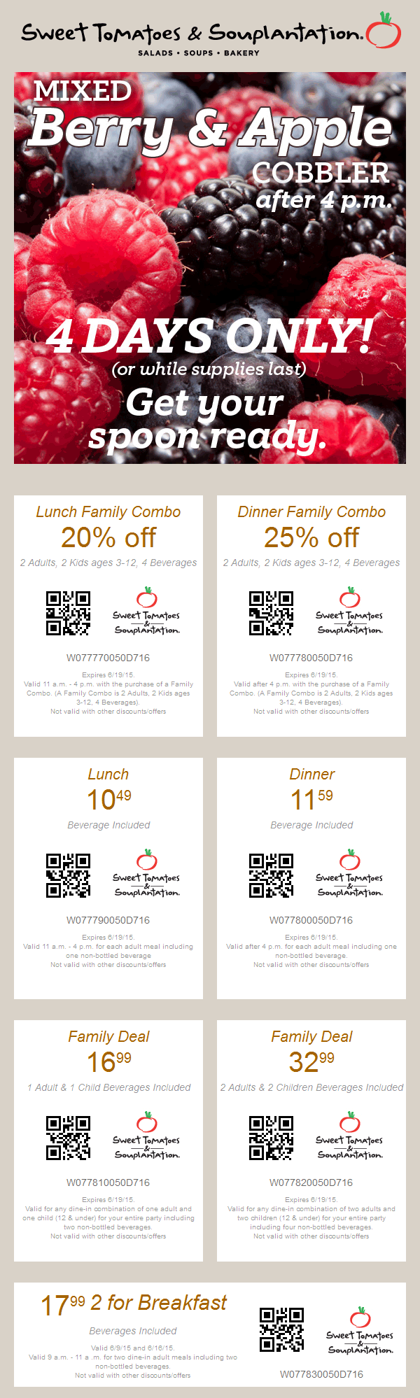 Sweet Tomatoes Coupon January 2017 20% off family lunch combo, 25% off dinner & more at Souplantation & Sweet Tomatoes