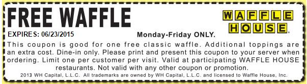 Waffle House Coupon January 2017 Free waffle weekdays at Waffle House