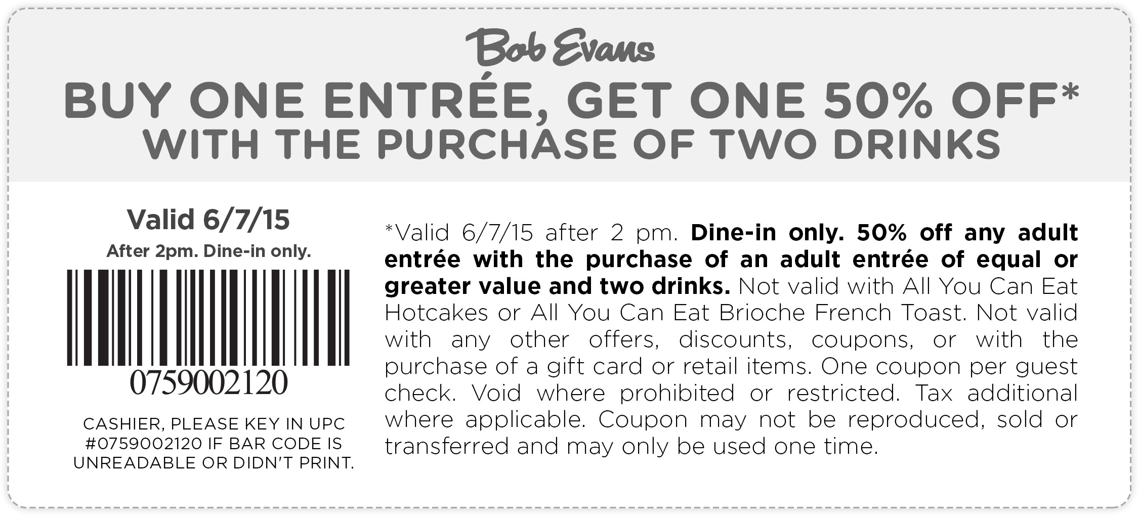 Bob Evans Coupon January 2017 Second entree 50% off today at Bob Evans