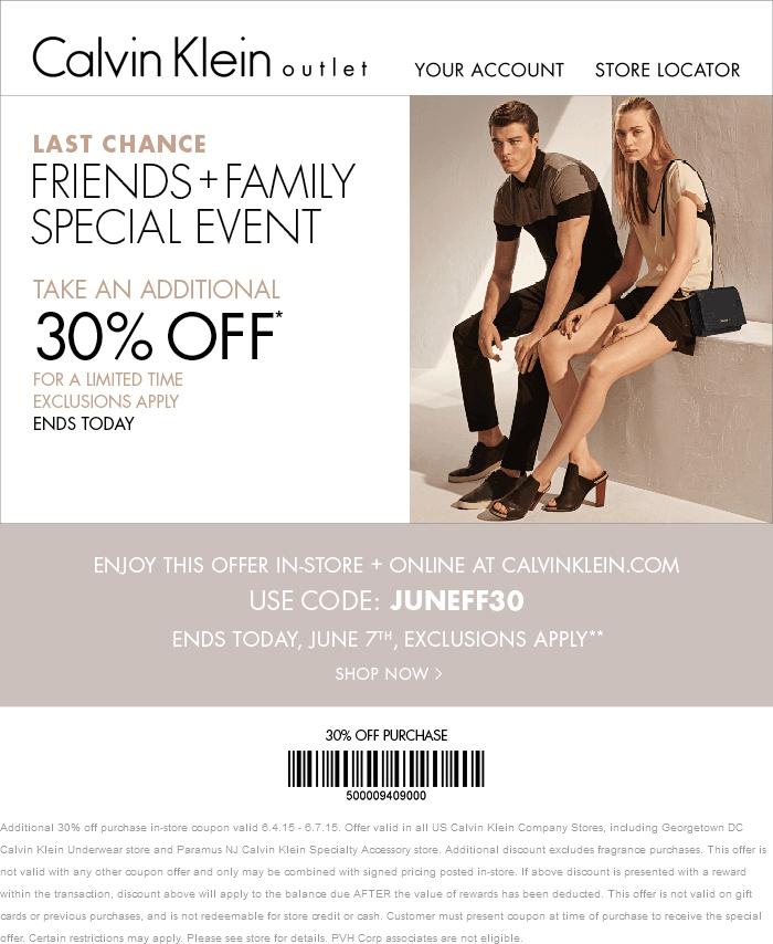 Calvin Klein Coupon September 2017 Extra 30% off at Calvin Klein, or online via promo code JUNEFF