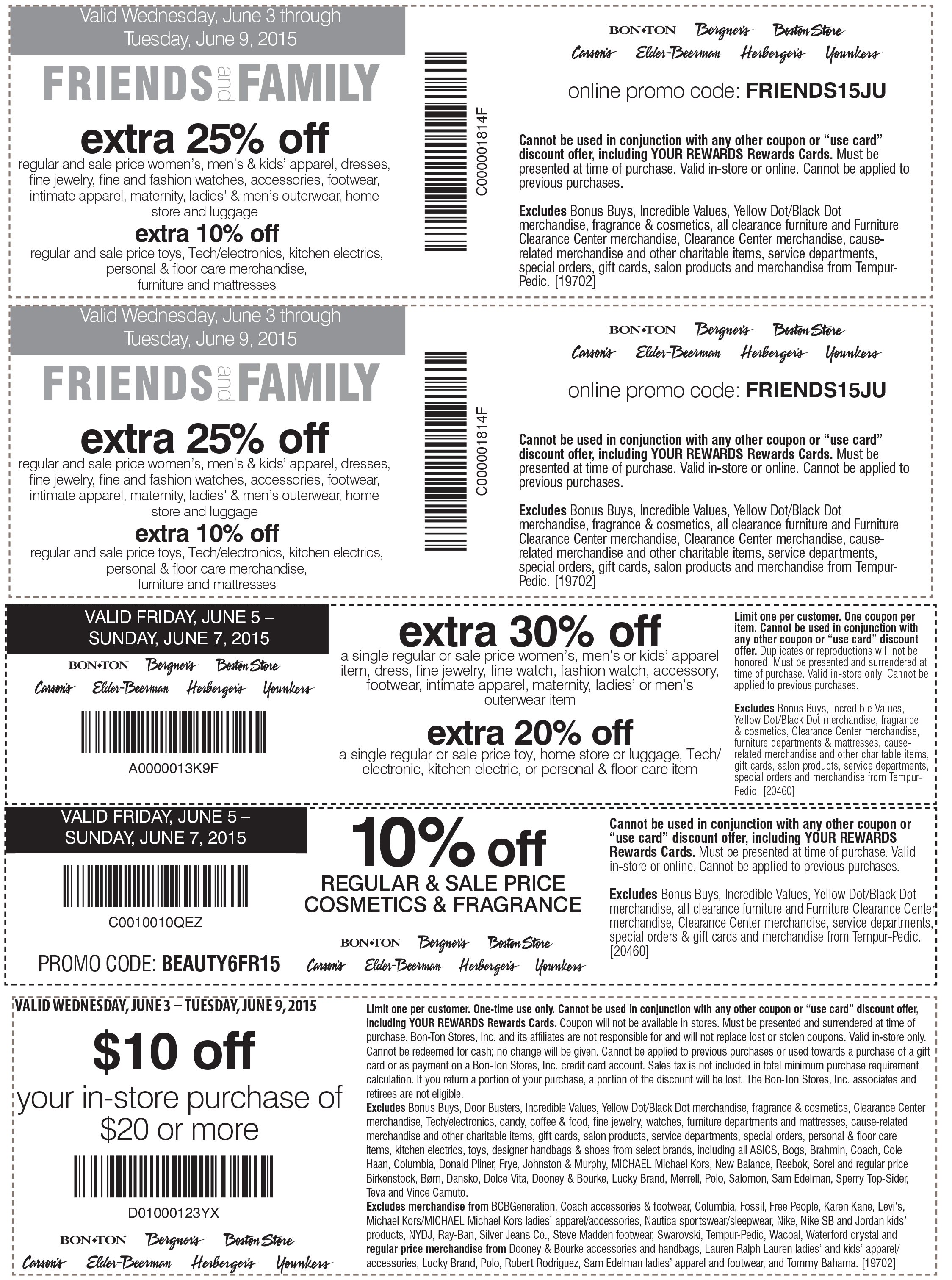 Carsons Coupon February 2018 Extra 30% off a single apparel item today at Carsons, Bon Ton, Bergners, Boston Store, Elder-Beerman, Herbergers & Younkers