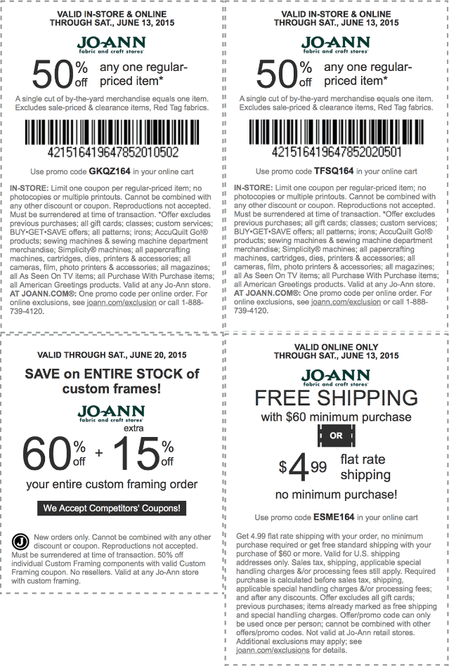 Jo-Ann Fabric Coupon March 2018 50% off a single item & more at Jo-Ann Fabric, or online via promo code GKQZ164