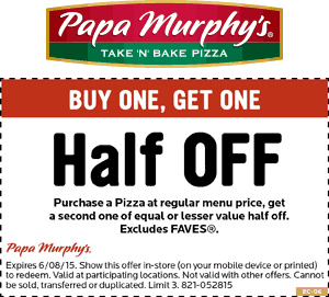Papa Murphys Coupon April 2017 50% off a second pizza at Papa Murphys