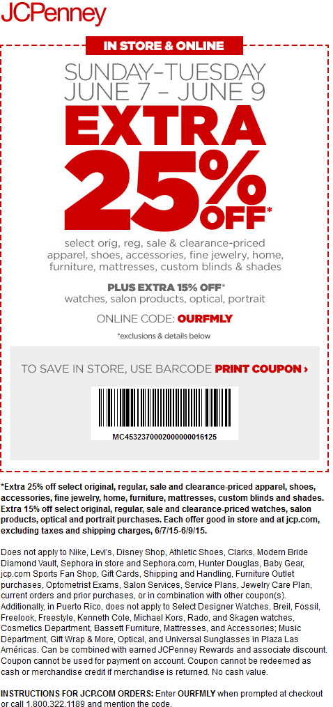 JCPenney Coupon December 2017 25% off at JCPenney, or online via promo code OURFMLY