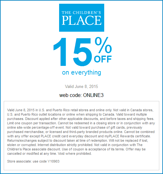Childrens Place Coupon December 2016 15% off everything today at The Childrens Place, or online via promo code ONLINE3