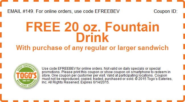 Togos Coupon September 2018 Free drink with your sandwich at Togos eateries, or online via promo code EFREEBEV