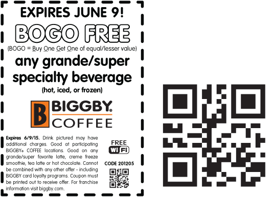Biggby Coffee Coupon April 2019 Second drink free today at Biggby Coffee