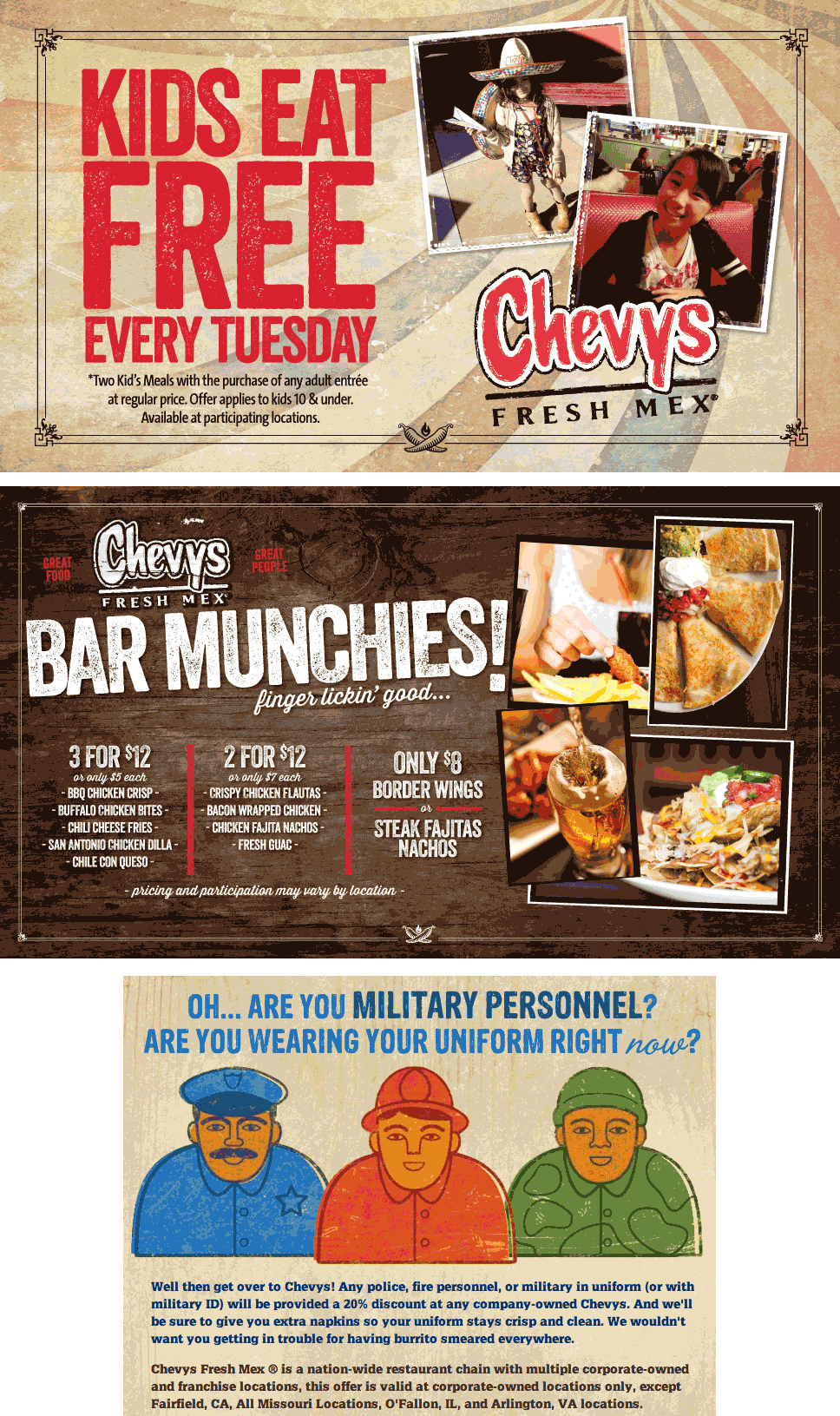 Chevys Coupon November 2017 Kids eat free Tuesdays at Chevys Fresh Mex