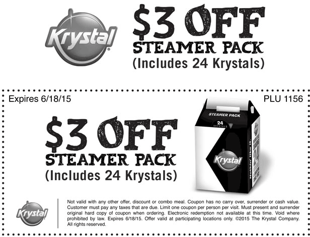 Krystal Coupon January 2017 $3 off a 24pc burger sack at Krystal