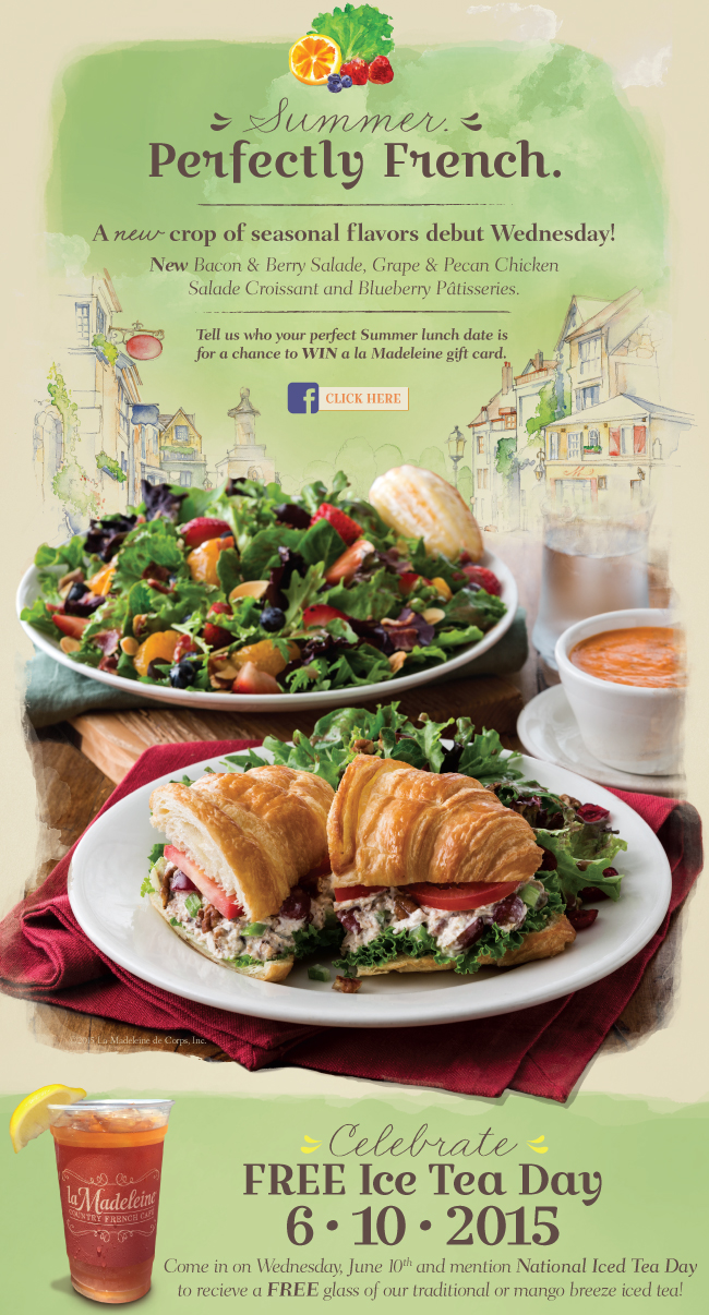la Madeleine Coupon April 2017 Free iced tea Wednesday at la Madeleine cafe