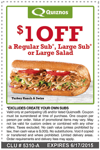 Quiznos Coupon January 2017 Shave a buck off your sub at Quiznos