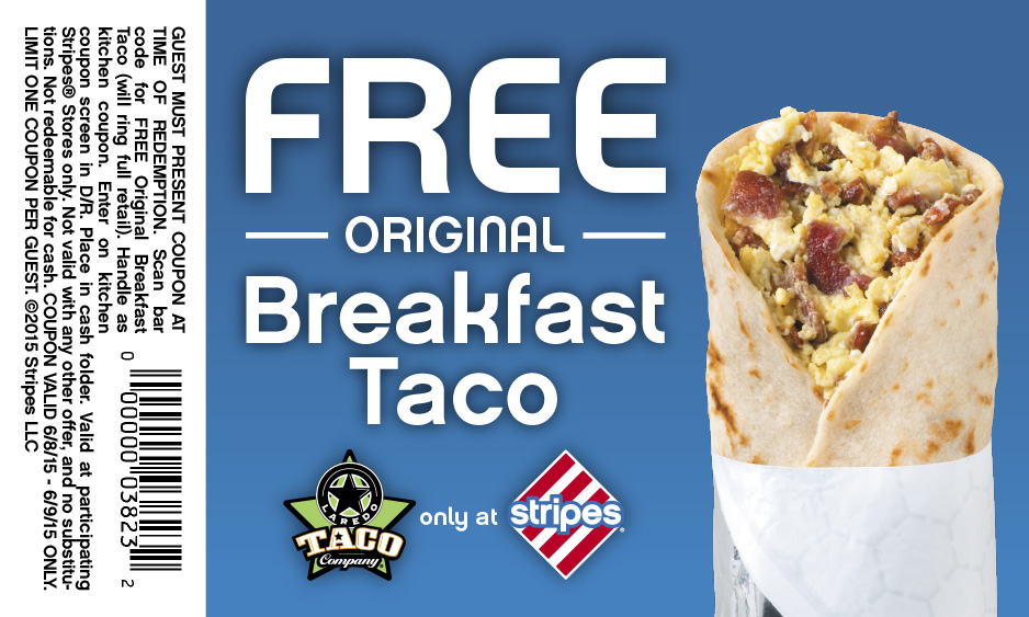 Stripes Gas Station Coupon July 2017 Free breakfast taco today at Stripes gas stations