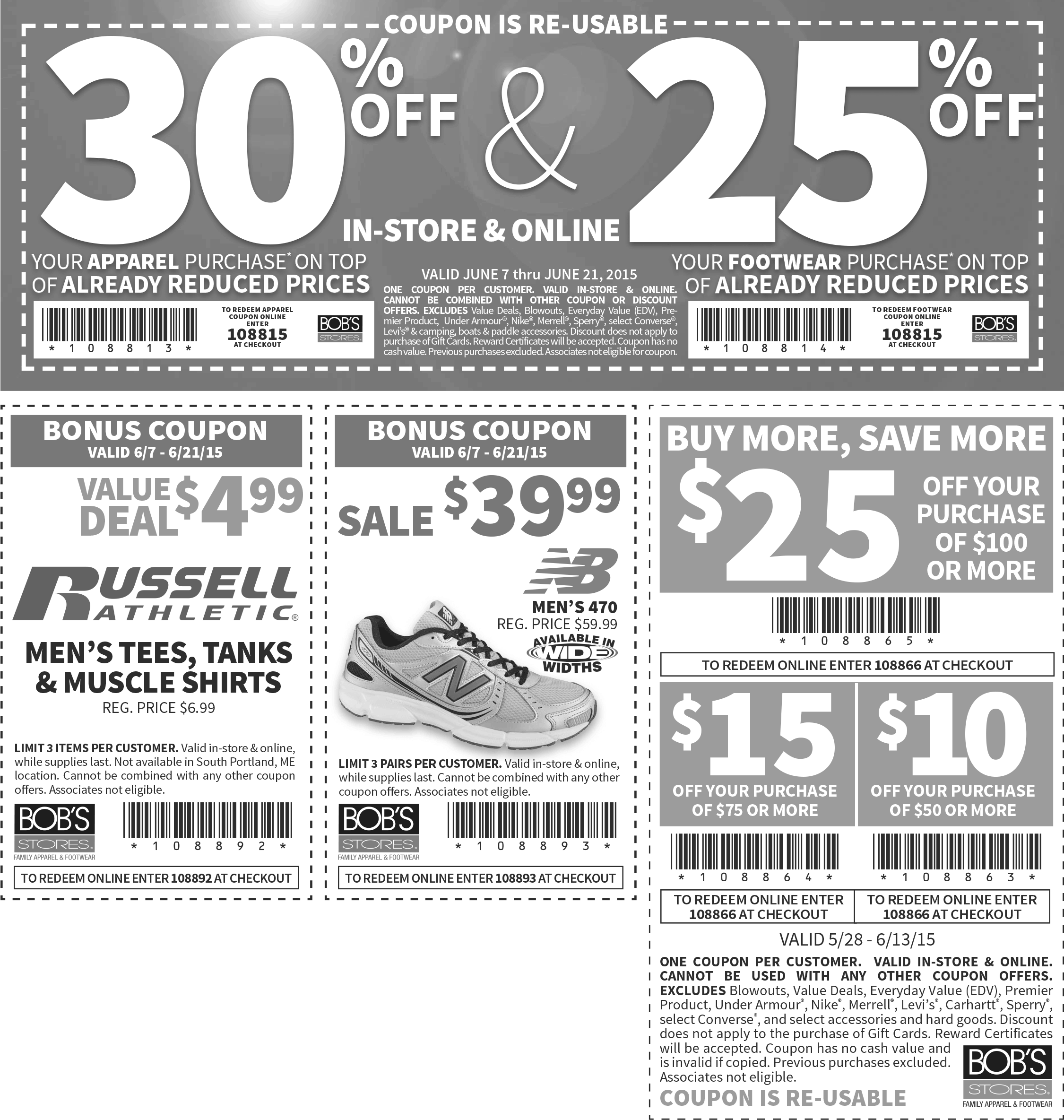 Bobs Stores Coupon November 2018 $10 off $50, 30% off & more at Bobs Stores, or online via promo code 108866