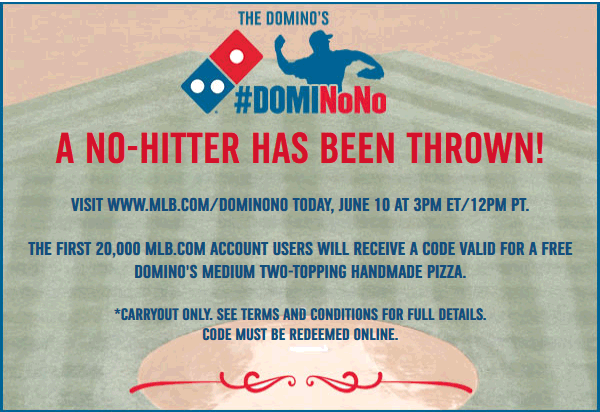 Dominos Coupon October 2016 Free Dominos pizza at 3pm to first 20k MLB baseball fans
