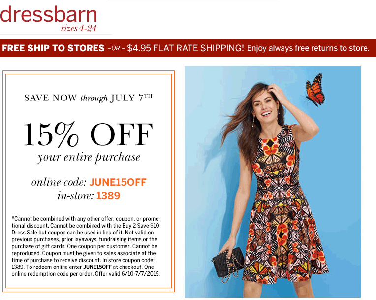 Dressbarn Coupon April 2018 15% off at dressbarn, or online via promo code JUNE15OFF