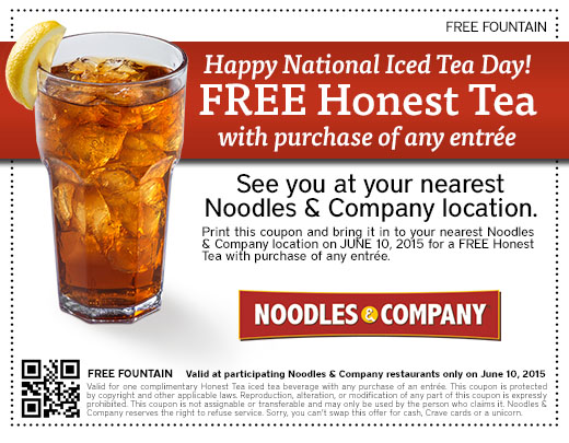 Noodles & Company Coupon August 2019 Free honest tea with your entree today at Noodles & Company