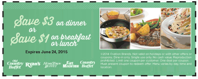 Old Country Buffet Coupon July 2017 $1-$3 off at Old Country Buffet, Ryans, HomeTown Buffet, Fire Mountain & Country Buffet restaurants