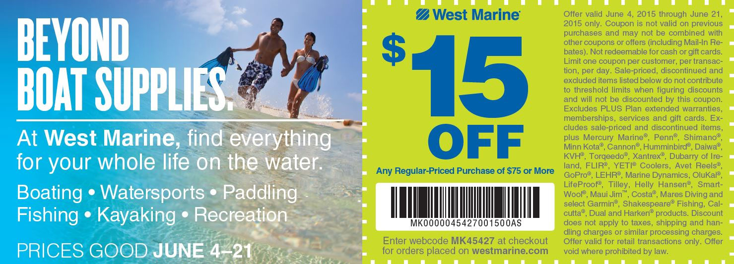 West Marine Coupon March 2017 $15 off $75 at West Marine, or online via promo code MK45427