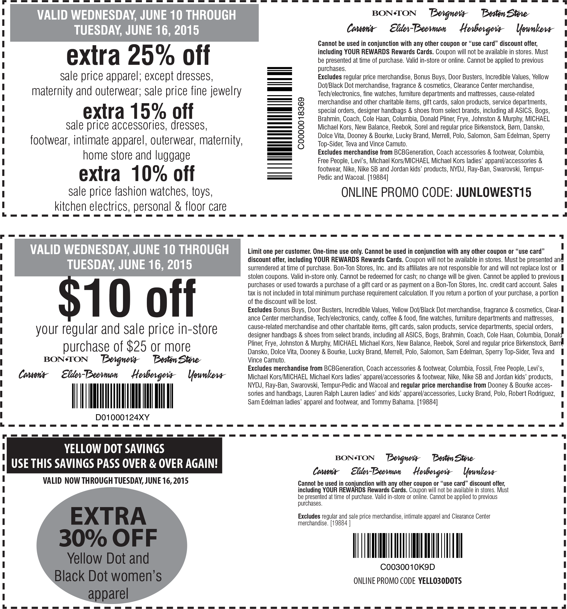 Carsons Coupon May 2017 Extra 25% off & more at Carsons, Bon Ton & sister stores, or online via promo code JUNLOWEST15