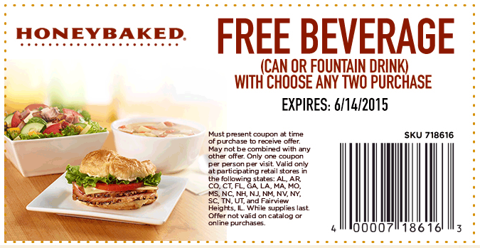 HoneyBaked Coupon March 2018 Free drink with your 2pc at HoneyBaked Ham
