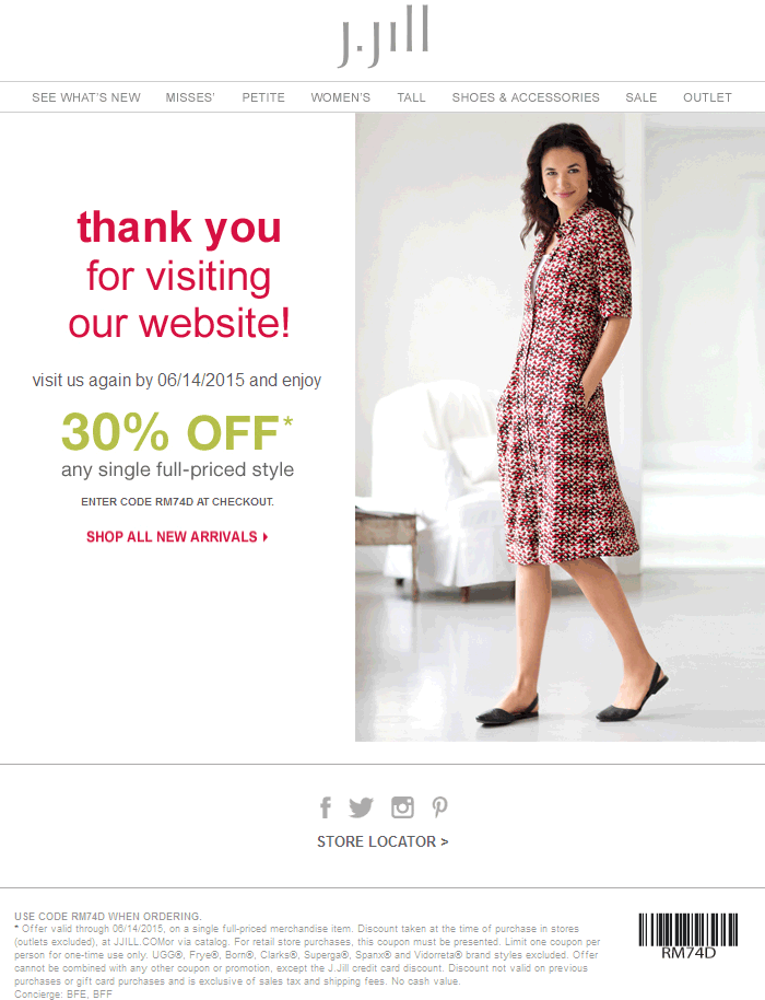 J.Jill Coupon September 2018 30% off a single item at J.Jill, or online via promo code RM74D
