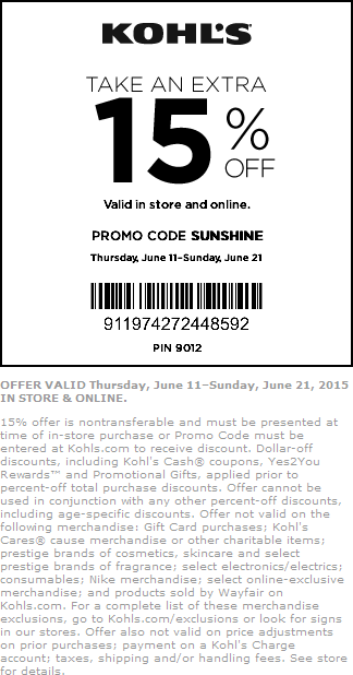 Kohls Coupon June 2017 15% off at Kohls, or online via promo code SUNSHINE