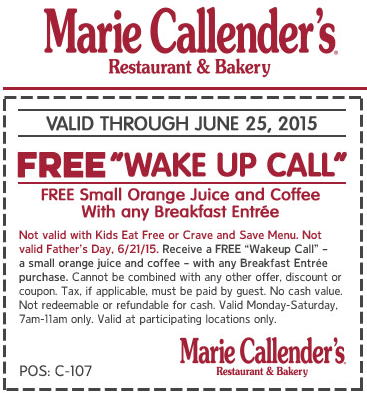 Marie Callenders Coupon January 2017 Free coffee & orange juice with your breakfast at Marie Callenders