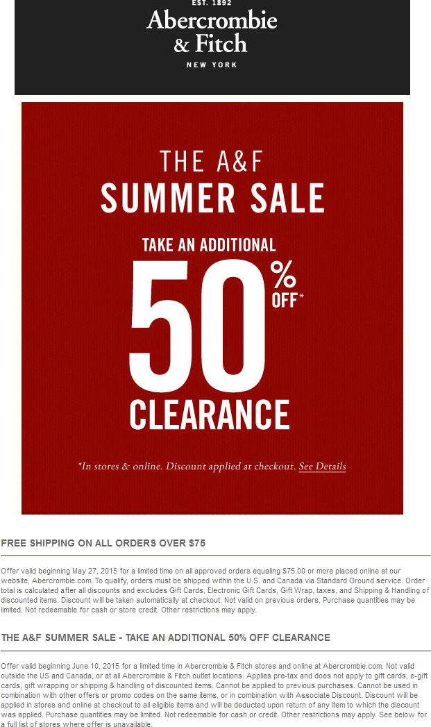 Abercrombie & Fitch Coupon August 2018 Extra 50% off clearance at Abercrombie & Fitch, ditto online