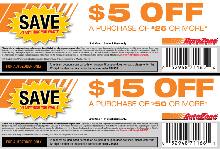 AutoZone Coupon November 2017 $5 off $25 & more at AutoZone