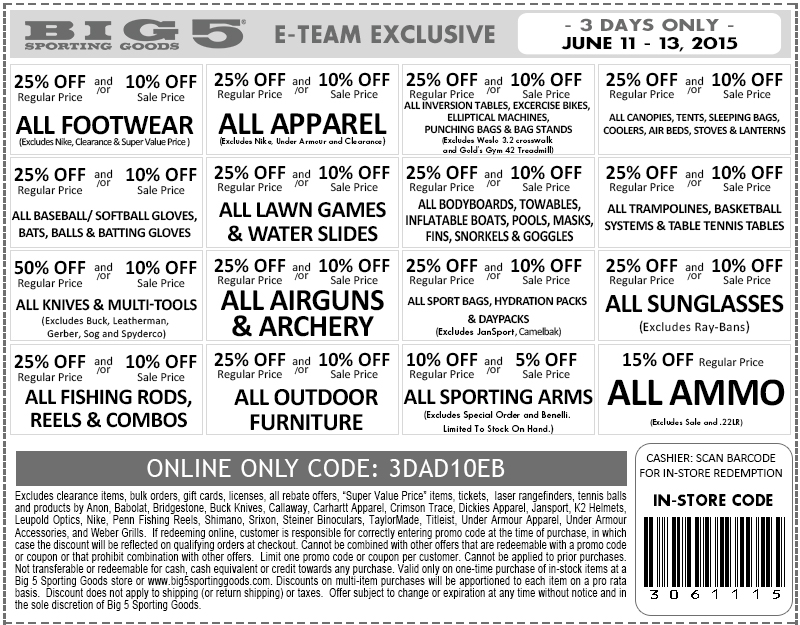 Big 5 Coupon March 2018 10-25% off at Big 5 sporting goods, or online via promo code 3DAD10EB