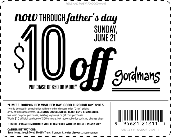 Gordmans Coupon December 2016 $10 off $50 at Gordmans