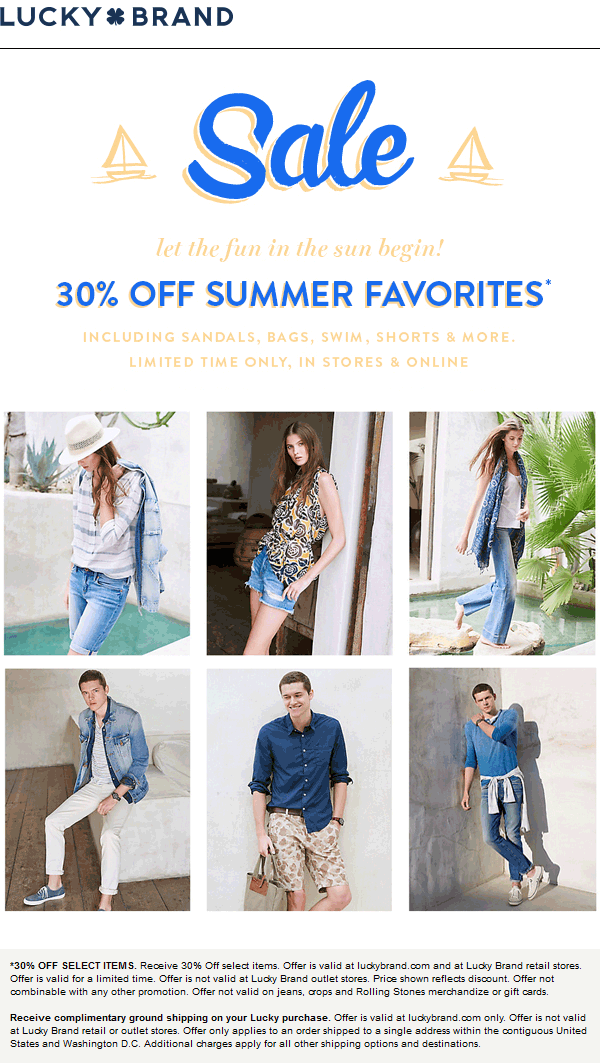 Lucky Brand Coupon April 2018 30% off summer fashion at Lucky Brand, ditto online