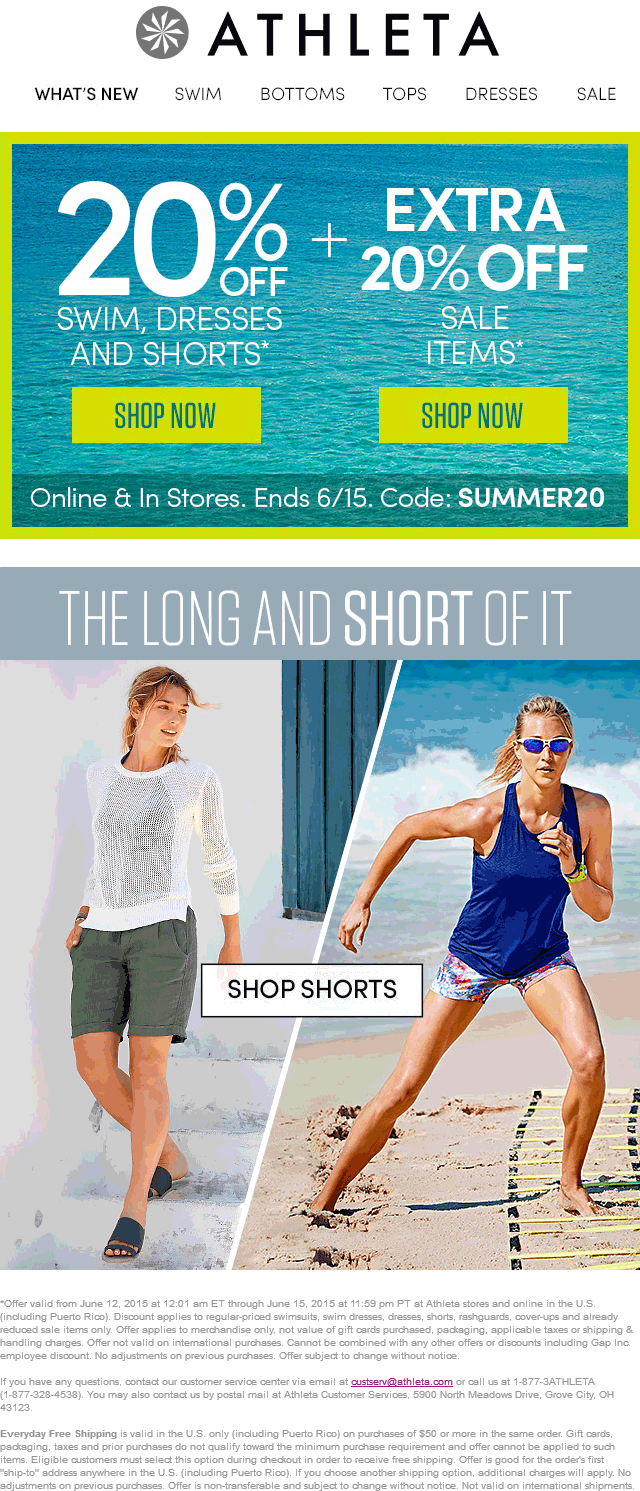 Athleta Coupon July 2018 Extra 20% off sale items & more at Athleta, or online via promo code SUMMER20