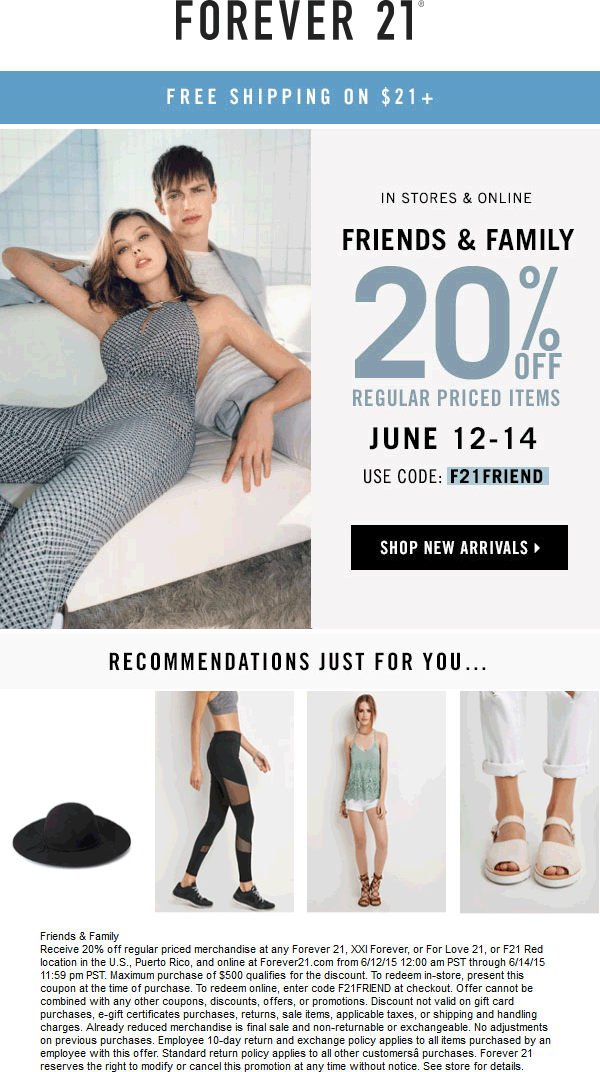 Forever 21 Coupon December 2016 20% off at Forever 21, or online via promo code F21FRIEND