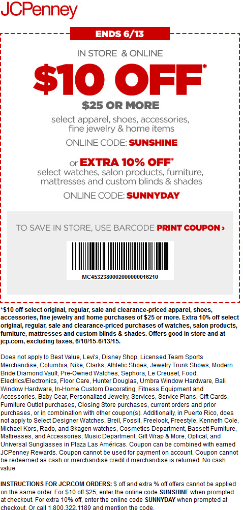 JCPenney Coupon December 2017 $10 off $25 today at JCPenney, or online via promo code SUNSHINE