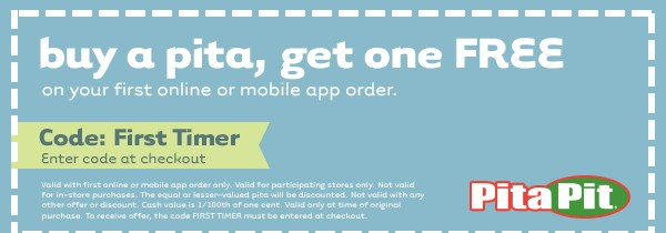 Pita Pit Coupon May 2018 Second pita free online at Pita Pit via promo code First Timer