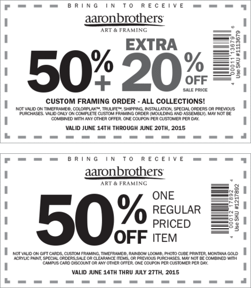Aaron Brothers Coupon February 2017 50% off a single item & more at Aaron Brothers