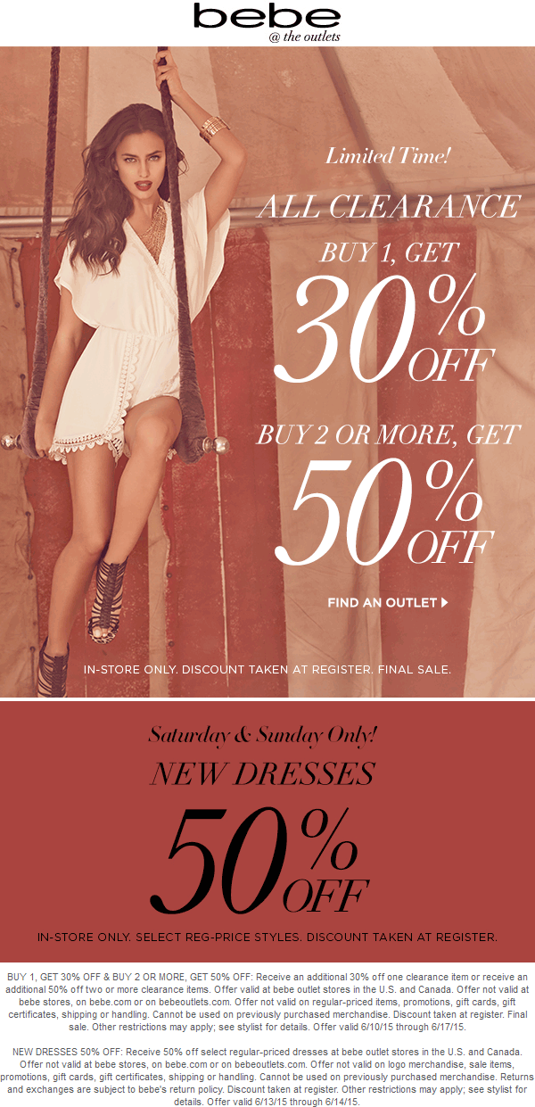 Bebe Outlet Coupon April 2017 Extra 30-50% off clearance at bebe Outlet locations