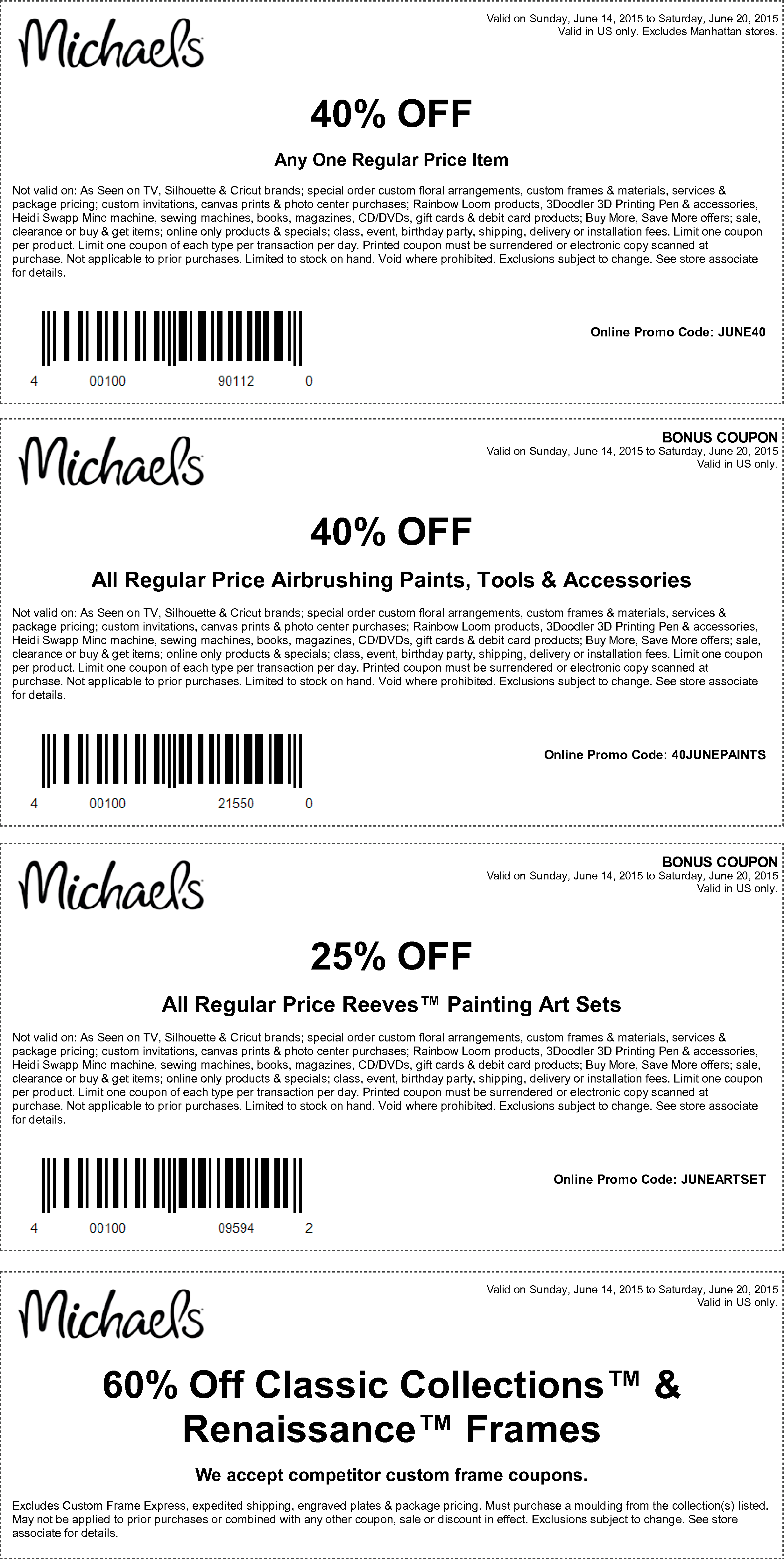 Michaels Coupon May 2017 40% off a single item & more at Michaels, or online via promo code JUNE40