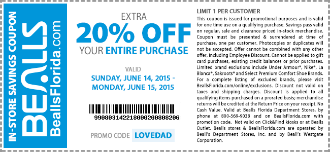 Bealls Coupon July 2018 Extra 20% off everything today at Bealls, or online via promo code LOVEDAD