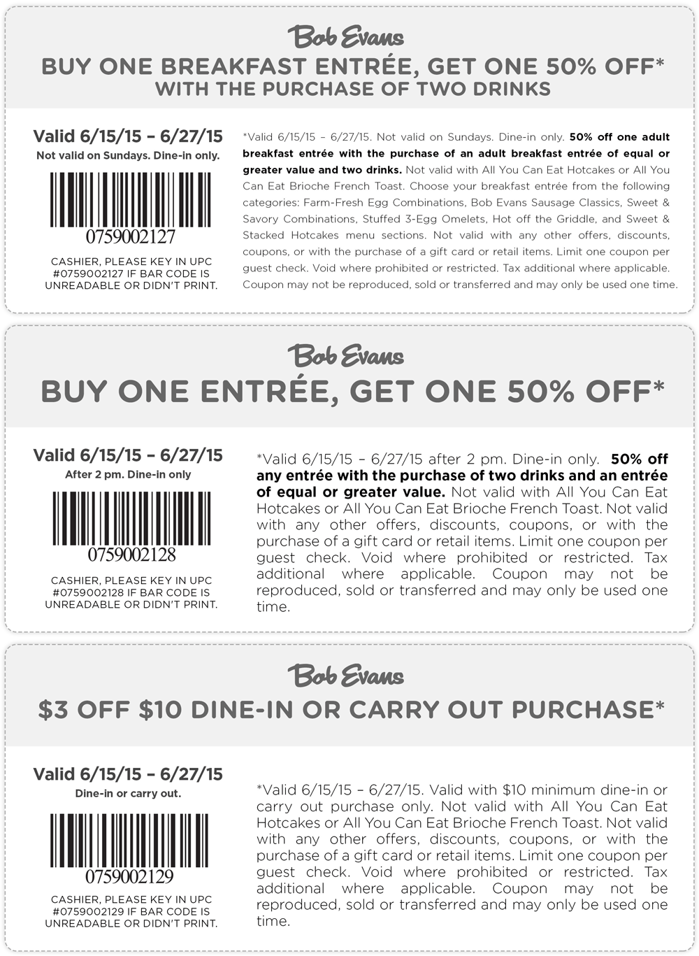 Bob Evans Coupon February 2017 Second entree 50% off & more at Bob Evans