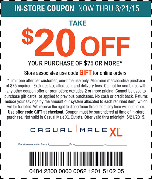 Casual Male XL Coupon March 2017 $25 off $75 at Casual Male XL, or online via promo code GIFT