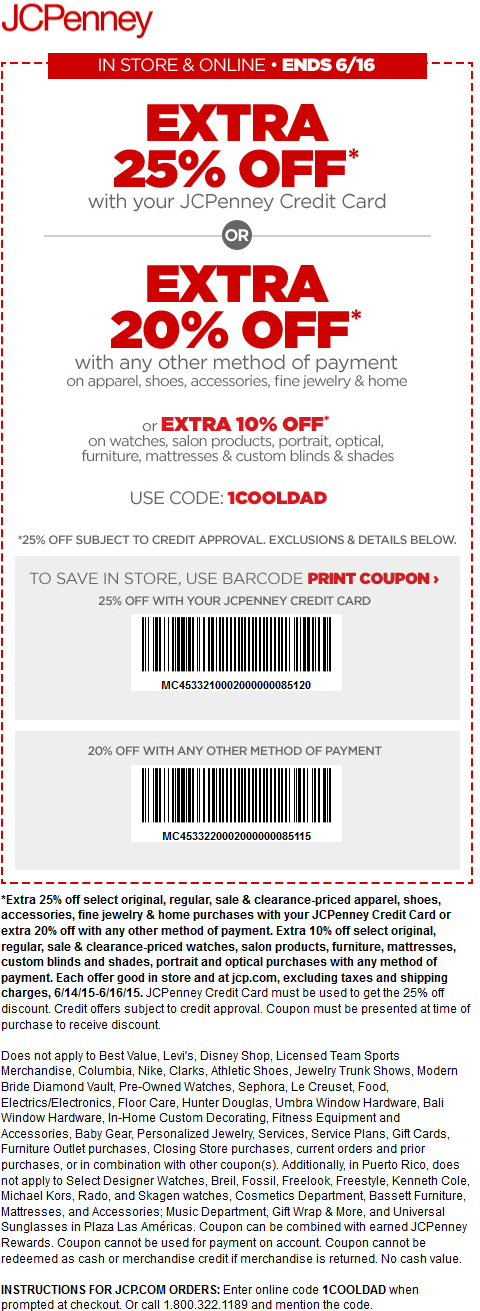 JCPenney Coupon May 2017 20% off at JCPenney, or online via promo code 1COOLDAD