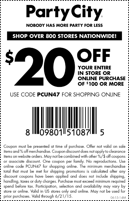 Party City Coupon June 2017 $20 off $100 at Party City, or online via promo code PCUN47