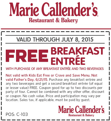 Marie Callenders Coupon April 2017 Second breakfast free at Marie Callenders