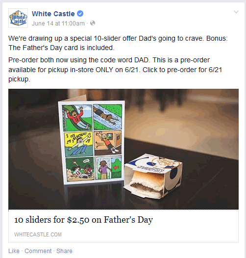 White Castle Coupon December 2016 10 White Castle sliders for $2.50 when pre-ordered for Fathers Day via promo code DAD