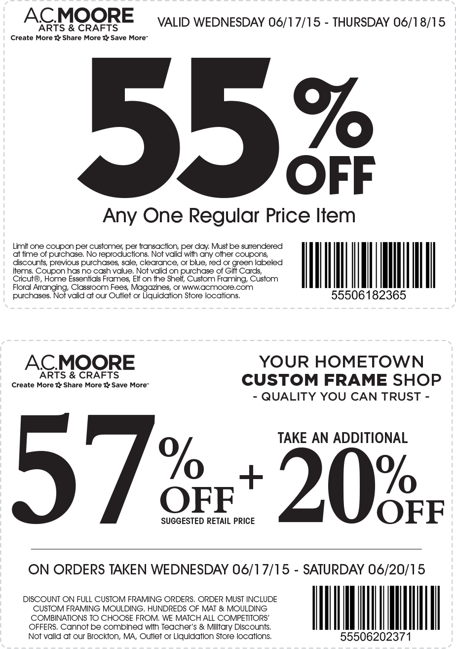 A.C. Moore Coupon February 2018 55% off a single item at A.C. Moore